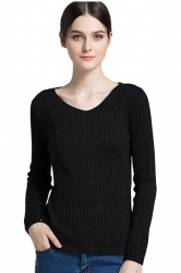 Womens Close-Fitting V-Neck Long Sleeve Plain Pullover Sweater Black