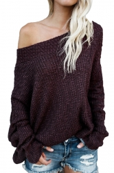 Womens Sexy Off Shoulder Long Sleeve Oversized Pullover Sweater Ruby