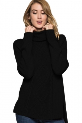 Womens High Collar Long Sleeve Side Slits Plain Knit Sweater Black