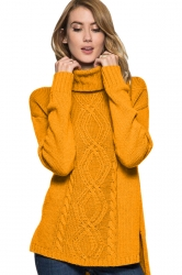 Womens High Collar Long Sleeve Side Slits Plain Knit Sweater Yellow