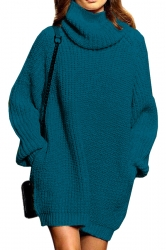 Womens Thicken High Collar Long Sleeve Plain Sweater Dress Blue
