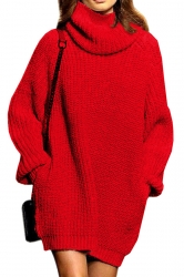 Womens Thicken High Collar Long Sleeve Plain Sweater Dress Red