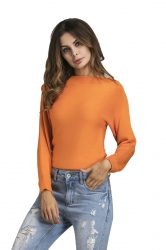Womens Sexy Off Shoulder Long Sleeve Plain Pullover Sweater Orange
