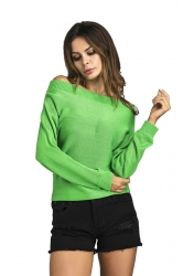 Womens Sexy Off Shoulder Long Sleeve Plain Pullover Sweater Green