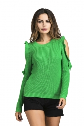 Womens Sexy Cold Shoulder Ruffle Plain Pullover Sweater Green