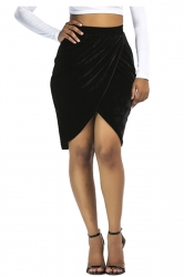 Womens Sexy Slit Pleated Bodycon Pencil Skirt Black