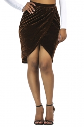 Womens Sexy Slit Pleated Bodycon Pencil Skirt Coffee