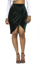 Womens Sexy Slit Pleated Bodycon Pencil Skirt Dark Green