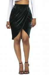 Womens Sexy Slit Pleated Bodycon Pencil Skirt Dark Green