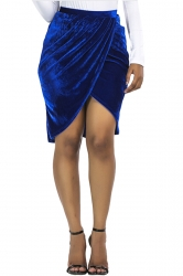 Womens Sexy Slit Pleated Bodycon Pencil Skirt Sapphire Blue