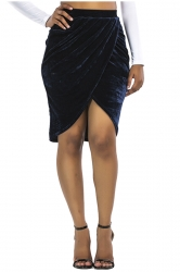 Womens Sexy Slit Pleated Bodycon Pencil Skirt Navy Blue