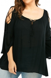 Womens Plus Size Lace Up Oversized T-Shirt Black
