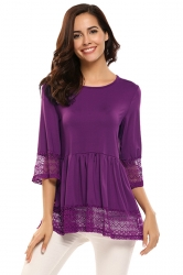 Womens Ruffle Lace Crew Neck Half Sleeve Plain Blouse Purple