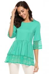 Womens Ruffle Lace Half Sleeve Plain T-Shirt Turquoise
