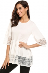 Womens Ruffle Lace Half Sleeve Plain T-Shirt White