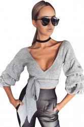 Womens Sexy Lantern Sleeve Bow V Neck T-Shirt Grey