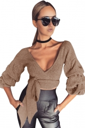 Womens Sexy Lantern Sleeve Bow V Neck T-Shirt Khaki