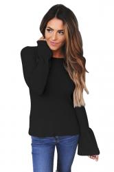 Womens Flare Sleeve Close-Fitting Plain T-Shirt Blue