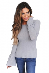 Womens Flare Sleeve Close-Fitting Plain T-Shirt Grey