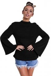 Womens Flare Sleeve Close-Fitting Crew Neck Plain T-Shirt Blue