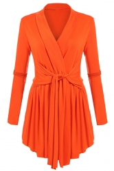 Womens Ruffle Bandage V-Neck Asymmetrical Hem Trench Coat Orange