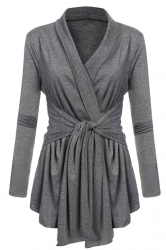 Womens Ruffle Bandage V-Neck Asymmetrical Hem Trench Coat Dark Gray
