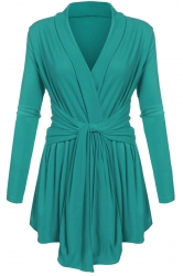 Womens Ruffle Bandage V-Neck Asymmetrical Hem Trench Coat Green