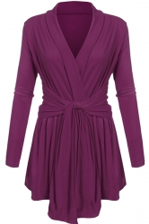 Womens Ruffle Bandage V-Neck Asymmetrical Hem Trench Coat Purple