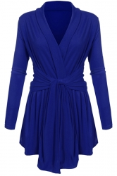 Women Ruffle Bandage V-Neck Asymmetrical Hem Trench Coat Sapphire Blue