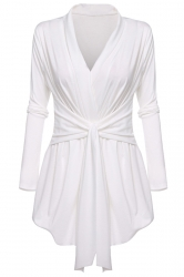 Womens Ruffle Bandage V-Neck Asymmetrical Hem Trench Coat White