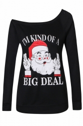 Womens Sexy Long Sleeve Santa Claus Printed One Shoulder Top Black