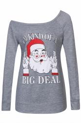 Womens Sexy Long Sleeve Santa Claus Printed One Shoulder Top Gray