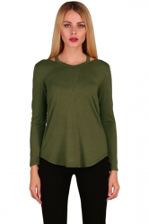 Womens Crew Neck Asymmetrical Hem Long Sleeve Plain T-Shirt Army Green