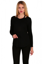Womens Crew Neck Asymmetrical Hem Long Sleeve Plain T-Shirt Black