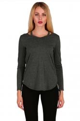 Womens Crew Neck Asymmetrical Hem Long Sleeve Plain T-Shirt Dark Gray