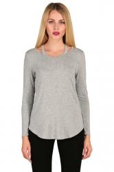 Womens Crew Neck Asymmetrical Hem Long Sleeve Plain T-Shirt Light Gray