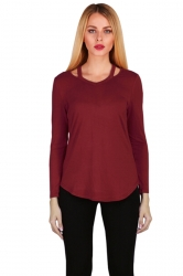 Womens Crew Neck Asymmetrical Hem Long Sleeve Plain T-Shirt Ruby