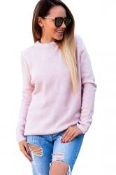 Womens Sexy V-Neck Long Sleeve Plain Halter Top Pink