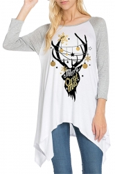 Womens Asymmetrical Hem Christmas Reindeer Printed T-Shirt Gray
