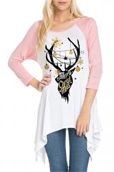 Womens Asymmetrical Hem Christmas Reindeer Printed T-Shirt Pink