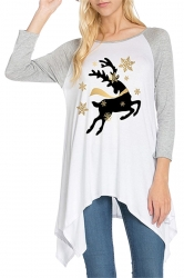 Womens Raglan Sleeve Christmas Reindeer Printed T-Shirt Gray