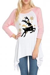 Womens Raglan Sleeve Christmas Reindeer Printed T-Shirt Pink
