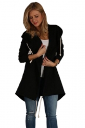 Womens Casual Drawstring Slant Pockets Hooded Plain Wool Coat Black