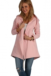 Womens Casual Drawstring Slant Pockets Hooded Plain Wool Coat Pink