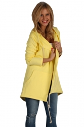 Womens Casual Drawstring Slant Pockets Hooded Plain Wool Coat Yellow