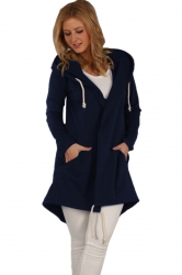 Womens Drawstring Slant Pockets Hooded Plain Wool Coat Navy Blue