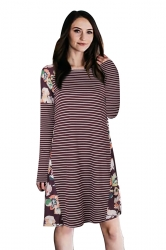 Womens Crew Neck Floral Printed Stripe Long Sleeve Smock Dress Ruby