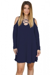 Womens V-Neck Cut Out Cold Shoulder Long Sleeve Smock Dress Navy Blue