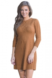 Womens Crew Neck 3/4 Sleeve Plain Fisherman Sweater Dress Brown