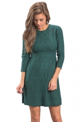 Womens Crew Neck 3/4 Sleeve Plain Fisherman Sweater Dress Green